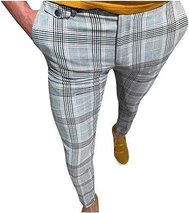 Dcola Pantalones Delgados Para Hombres Comodos Pantalones De Sarga Elastica De Algodon Tela Escocesa Retro De Costura Personalizada Pantalones Deportivos Para Hombres 2xl Yellow Amazon Es Ropa Y Accesorios