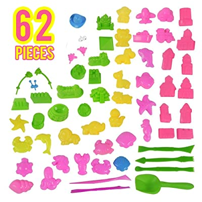 62 pcs Sand Molds Tools Kit Beach Toys for Kids Toddlers on Summer Beach Holiday - Colorful Non Toxic and Compatible with Play Doh and All Kinetic Sands