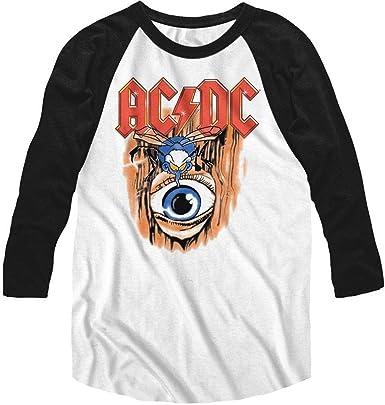 ACDC Heavy Metal Rock Band Vintage Fly On Eye Camiseta de manga 3/4 para adulto: Amazon.es: Ropa y accesorios
