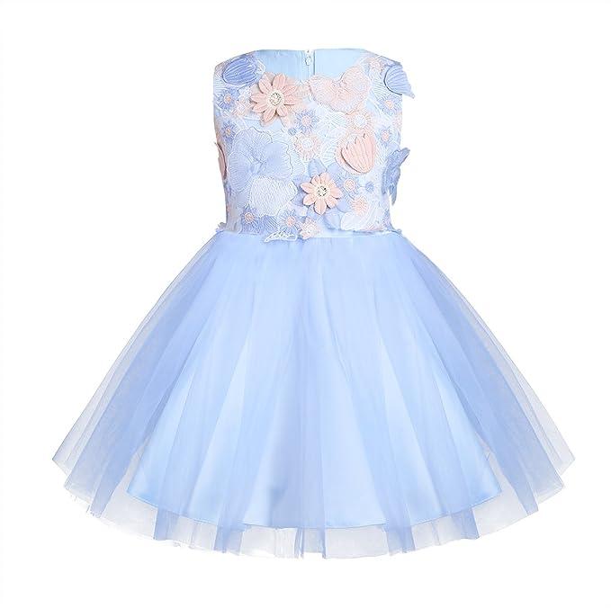 Niñas Vestidos de Flores para Fiesta Boda Elegante Vestido de Princesa Blanco para Niña Chica Azul