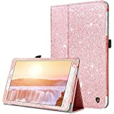 Samsung Galaxy Tab E 9.6 Case, DUEDUE Sparkly Glitter Slim Faux Leather Folio Stand Full Body Protective Cover Case for Galaxy Tab E Wi-Fi/Tab E Nook 9.6 Inch Tablet Verizon 4G LTE Version, Rose Gold