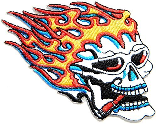 Flame Skull Ghost Rider Smoking Outlaw Motorcycle Motobike Biker Club Jacket T-shirt Suit Patch Iron on Embroidered Applique Sign Badge Costume Gift