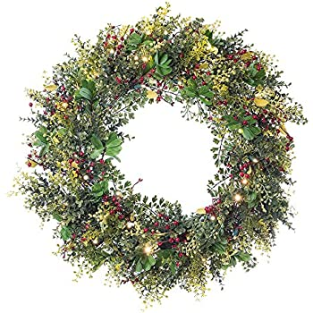 artificial pre lit led decorated christmas wreath christmas boxwood and berry decorations - Christmas Wreaths With Lights