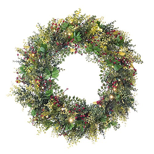(30 in. Artificial Pre Lit LED Decorated Christmas Wreath-Christmas Boxwood and Berry decorations-50 super mini warm clear colored lights with timer battery pack for indoor and outdoor use)