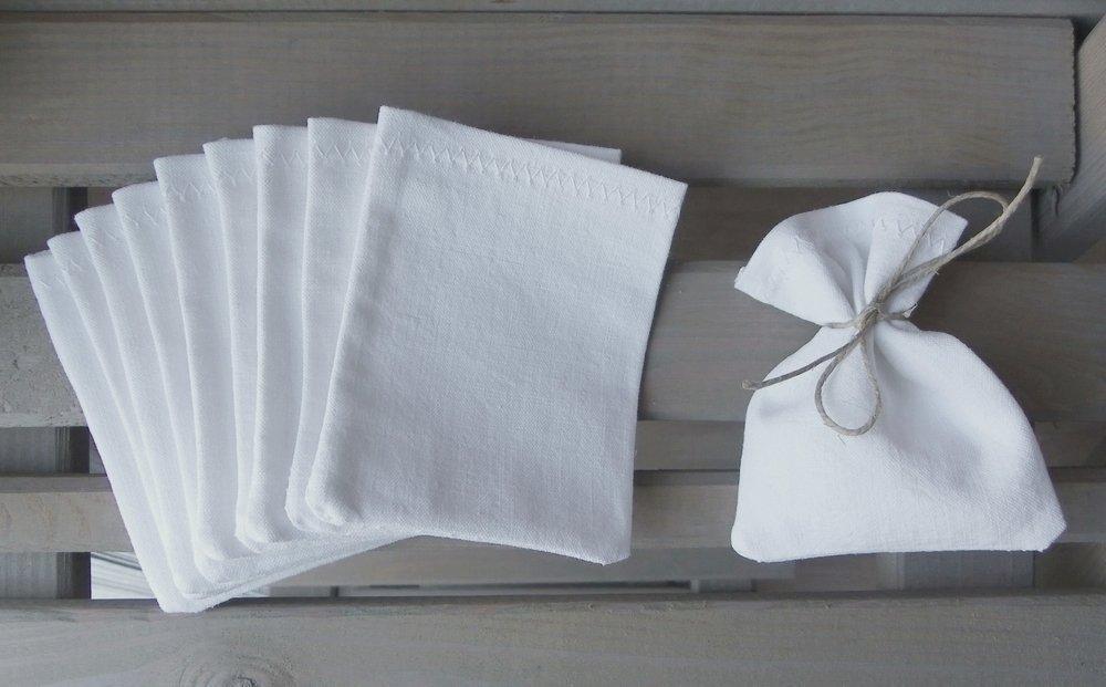 10 sac à dragées sachet à dragées pochette pochon coton blanc coton recyclé ancien 7, 5 x 10 cm SANS LIEN OU RUBAN cadeau invité à customiser à décorer pour baptême mariage communion LOT DE 10 sacs