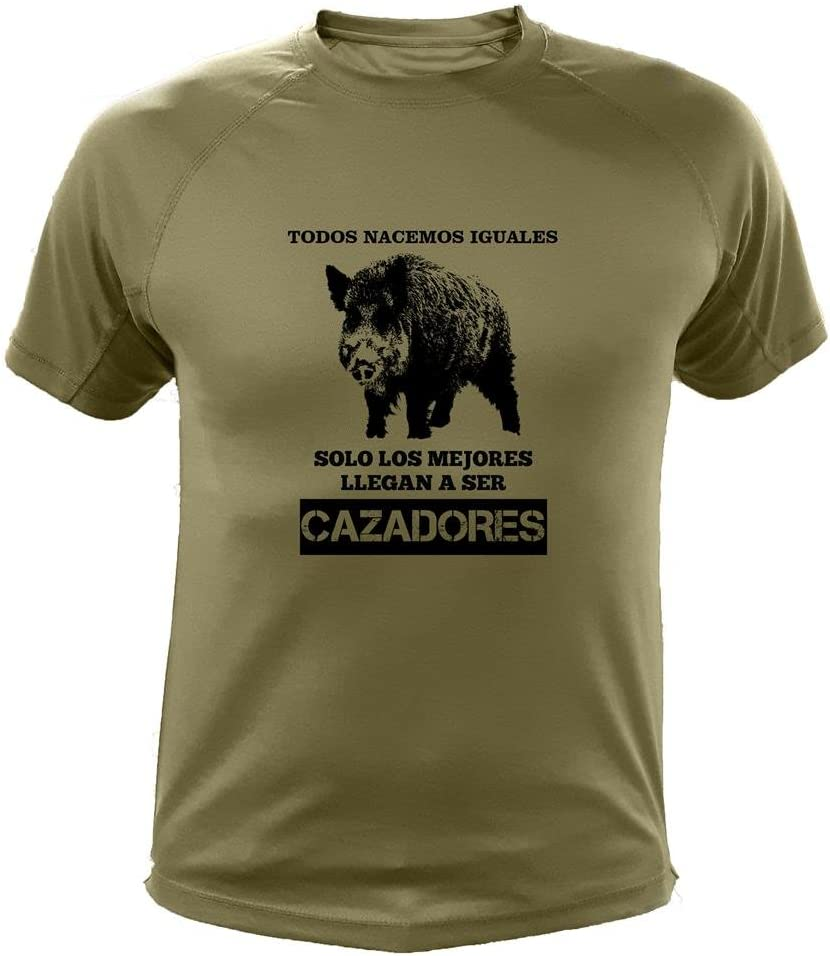 AtooDog Camisetas Personalizadas de Caza, Todos nacemos Iguales, Ideas Regalos, Verraco