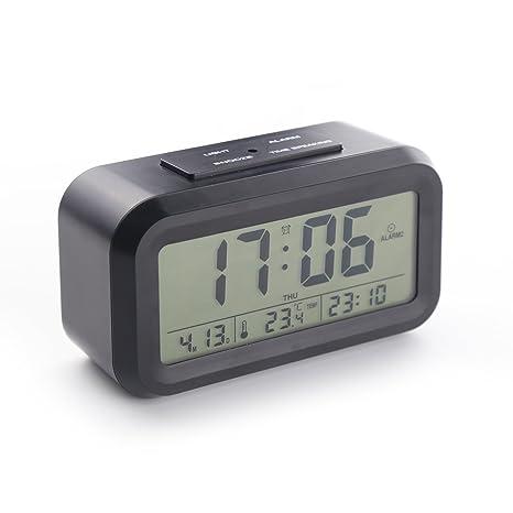 [Versión de actualización] Reloj despertador inteligente con 3 alarmas, con voz, ajuste de indicador de hora, temperatura, fecha, semana y día de la ...