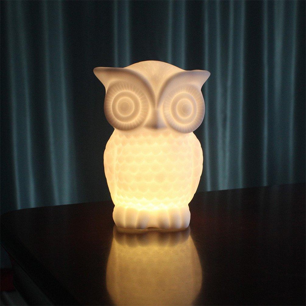 Suzzo Serenity Owl Night Light Lamp withタイマーバッテリーPoweredテーブルランプHoliday Giftsノベルティ照明Kid部屋パーティー装飾ウォームホワイト one size AKRJN543588744401-WM  Style2 Warm B075T8ZW52