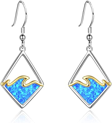 Sterling Silver Created Blue Opal Simple Wave Dangle Earrings