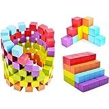 100個の積み木 カラーブロック 知育 学習玩具 木のおもちゃ 6色
