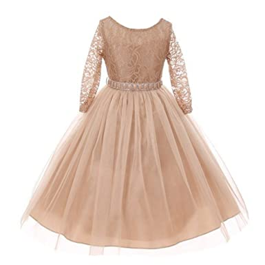3bf8d1a95f9 My Best Kids Little Girls Champagne Floral Lace Rhinestone Waist Tulle  Junior Flower Girl Dress 2