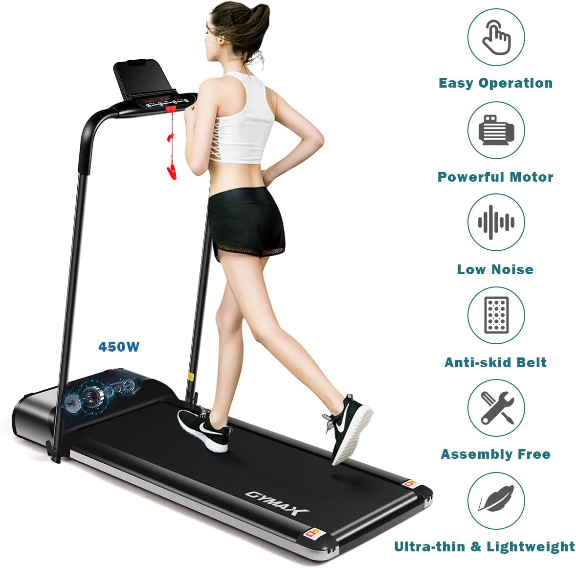 Ultra-Thin 450W Exercise Running Machine Compact Fitness Running /& Walking GYMAX Electric Folding Treadmill