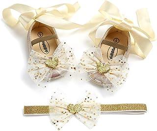 EDOTON Bébé Fille Chaussures de Bowknot avec Bandeau Cadeau Ensemble de Anniversaire Bambin Fille Belle Mariage Semelle Souple Anti-dérapant Princesse Chaussures