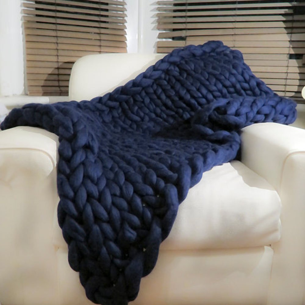 Chunky Knit Blanket,Cable Knit Throw,Chunky Knit Throw Arm Knit Blanket,Giant Knit Blanket,Merino Wool Throw Blanket,Queen King Bedspread,Gift Idea 47''x59'' by Funida Home (Image #2)