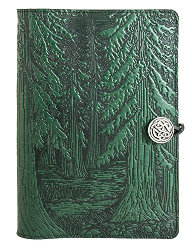 Genuine Leather Refillable Journal Cover + Hardbound Blank Insert - 6x9 Inches - Forest, Green With Pewter Button - Made in the USA by Oberon Design by Oberon Design (Image #1)