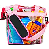 Deluxe Clear Tote Bag, 12x12x6 - NFL Stadium Approved - Zipper Closure, Removable Padded Shoulder Strap, Detachable Privacy Pouch & Reinforced Bottom - PGA and NASCAR Approved - Great for Men & Women