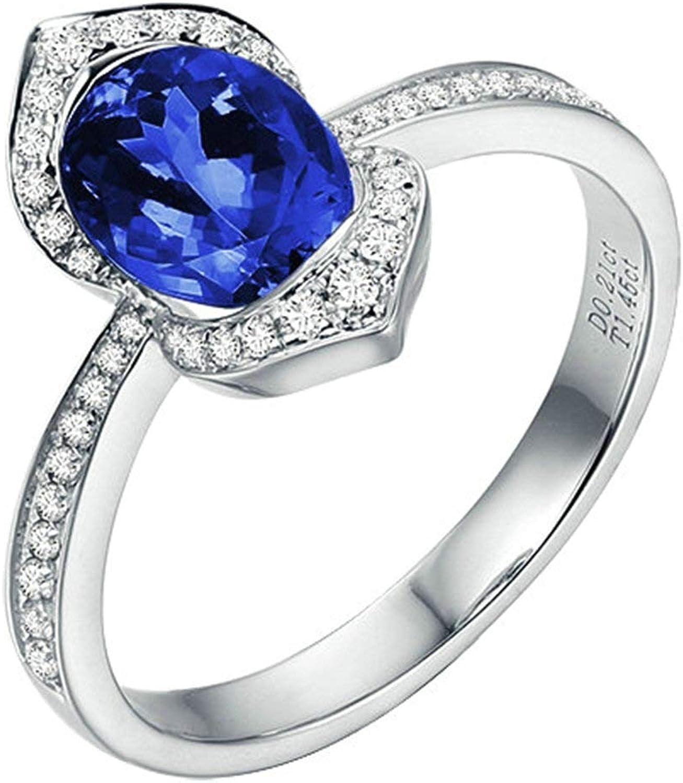 Daesar Anillo de Mujer Plata Azul Anillos Compromiso Mujer Oro Blanco 18K Oval Cojín Tanzanita Azul 1.45ct Diamante 0.21ct