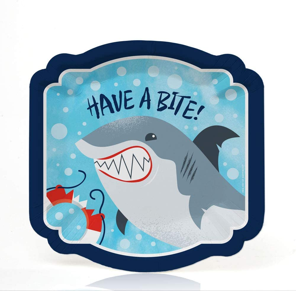 Big Dot of Happiness Shark Zone - Jawsome Shark Viewing Week Party or Birthday Party Dessert Plates (16 Count)