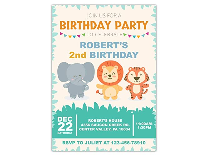 Custom Safari Jungle Zoo Animals Birthday Party Invitations For Kids 10pc 60pc 4x6 Or 5x7 Cards With White Envelopes Printed On Premium