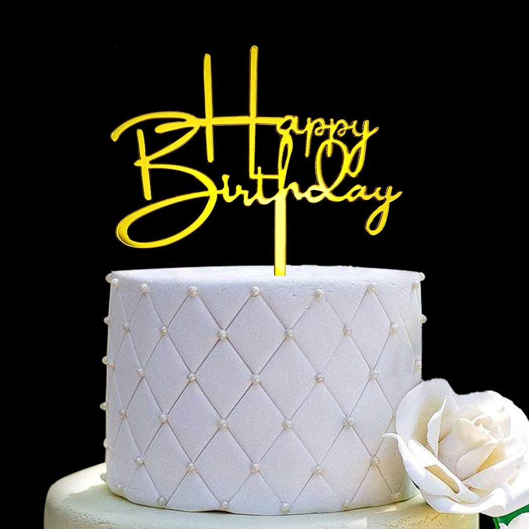 Happy Birthday Acrylic Cake Topper Decoration for Special Event (Mirror Gold)