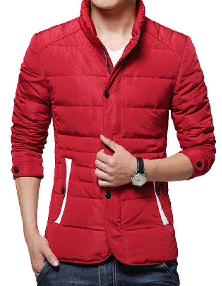 (クィーンシャイニー)QUEENSHINY ファッション スリット ホワイト アヒル羽毛 ダウンジャケット ダウンコート B00S681OSU L レッド レッド L