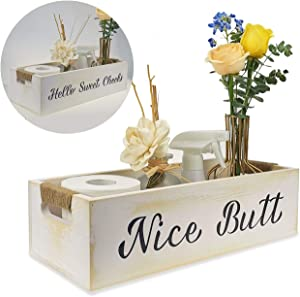 nobrand Nice Butt Funny Bathroom Decor,2 Sides with Funny Sayings,Toilet Paper Storage, Hello Sweet Cheeks Bathroom Box, Farmhouse Decor for Bathroom (White)