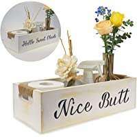 nobrand Nice Butt Funny Bathroom Decor,2 Sides with Funny Sayings,Toilet Paper Storage, Hello Sweet Cheeks Bathroom Box, Farmhouse Decor for Bathroom (White)