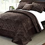 Oversized King Comforters 120x120 Home Soft Things Serenta Super Soft Microplush Quilted 4 Piece Bedspread Set, King, Chocolate