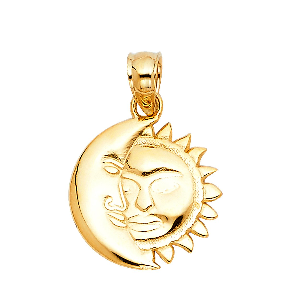14k Yellow White Rose Gold Moon /& Sun Pendant Height 13 MM Width 13 MM