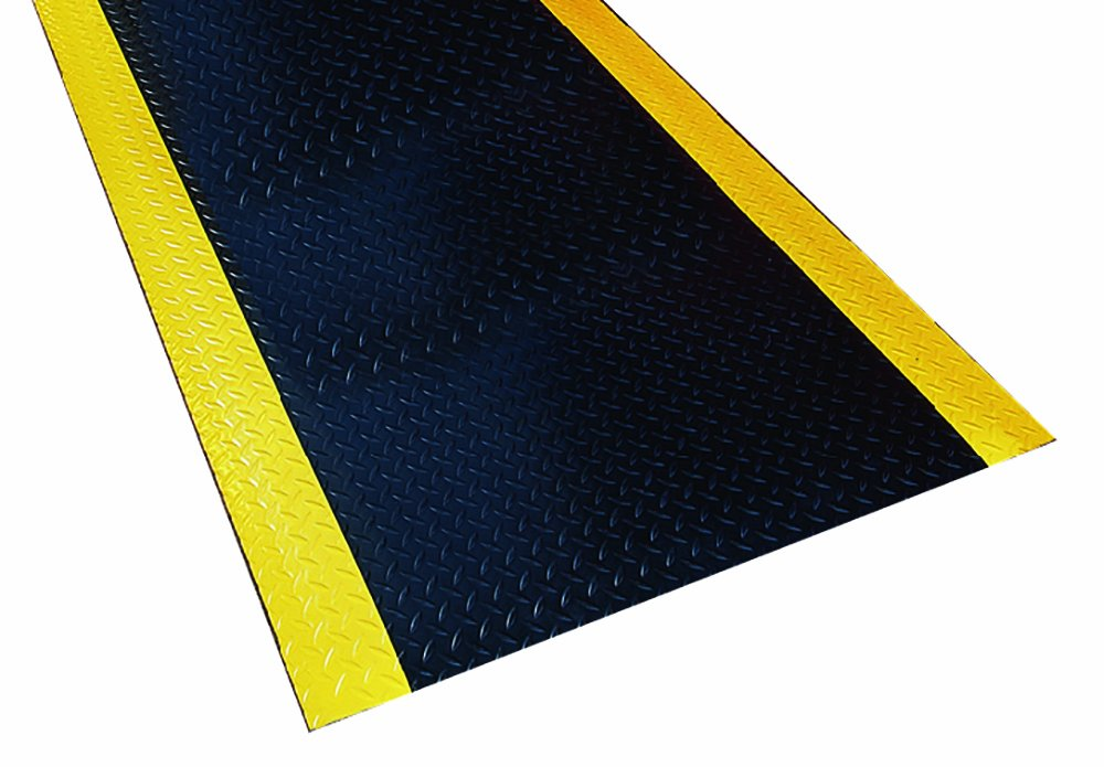 Durable Corporation Diamond-Dek Ultra-Safe Anti-Fatigue Mat Roll, 36'' Width x 60' Length, Black with Yellow Border