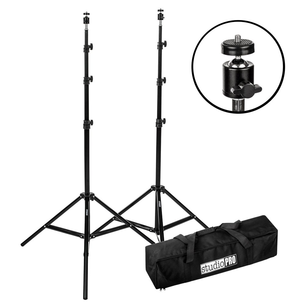 Fovitec - 2x 7'6'' VR Gaming Lighthouse Mount Stand Kit - [HTC Vive and Oculus Rift Compatible][Adjustable Ball Heads][Includes Carrying Bag]