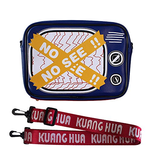 Novelty Retro TV Style Women's Messenger Bag Shoulder Square Package, PU lambskin, Sport Wide Ribbon Shoulder Strap (Blue) ()