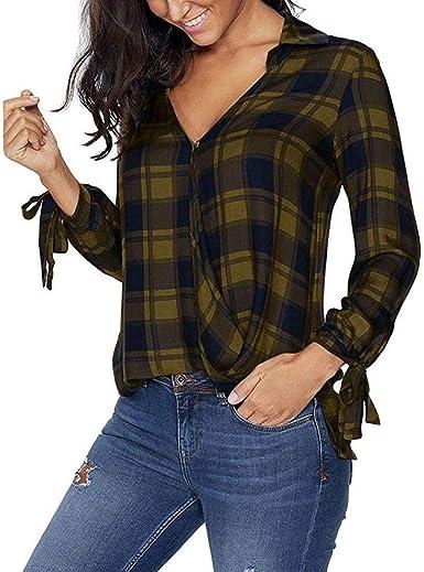Mujer Blusas Primavera Otoño Elegante Moda Ocasional Cómodo Warm Manga Larga Camisas Hipster V-Cuello A Cuadros con Lazo Tops Camisetas: Amazon.es: Ropa y accesorios