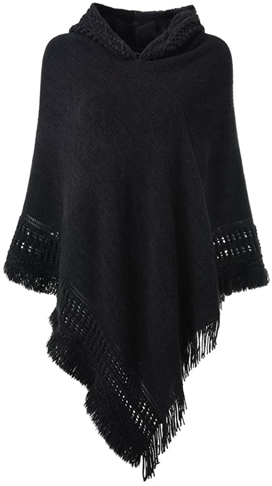 Ferand Ladies' Hooded Cape with Fringed Hem, Crochet Poncho Knitting Patterns for Women, Black at  Women's Clothing store