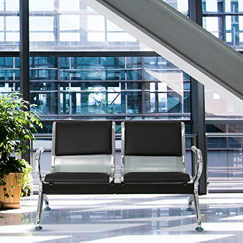 Peach Tree Office Metal Waiting Room Chair Leather Business Reception Room Garden Salon Barber Bench for Barbershop Salon Airport Bank Hospital Market 2 Seats, Black