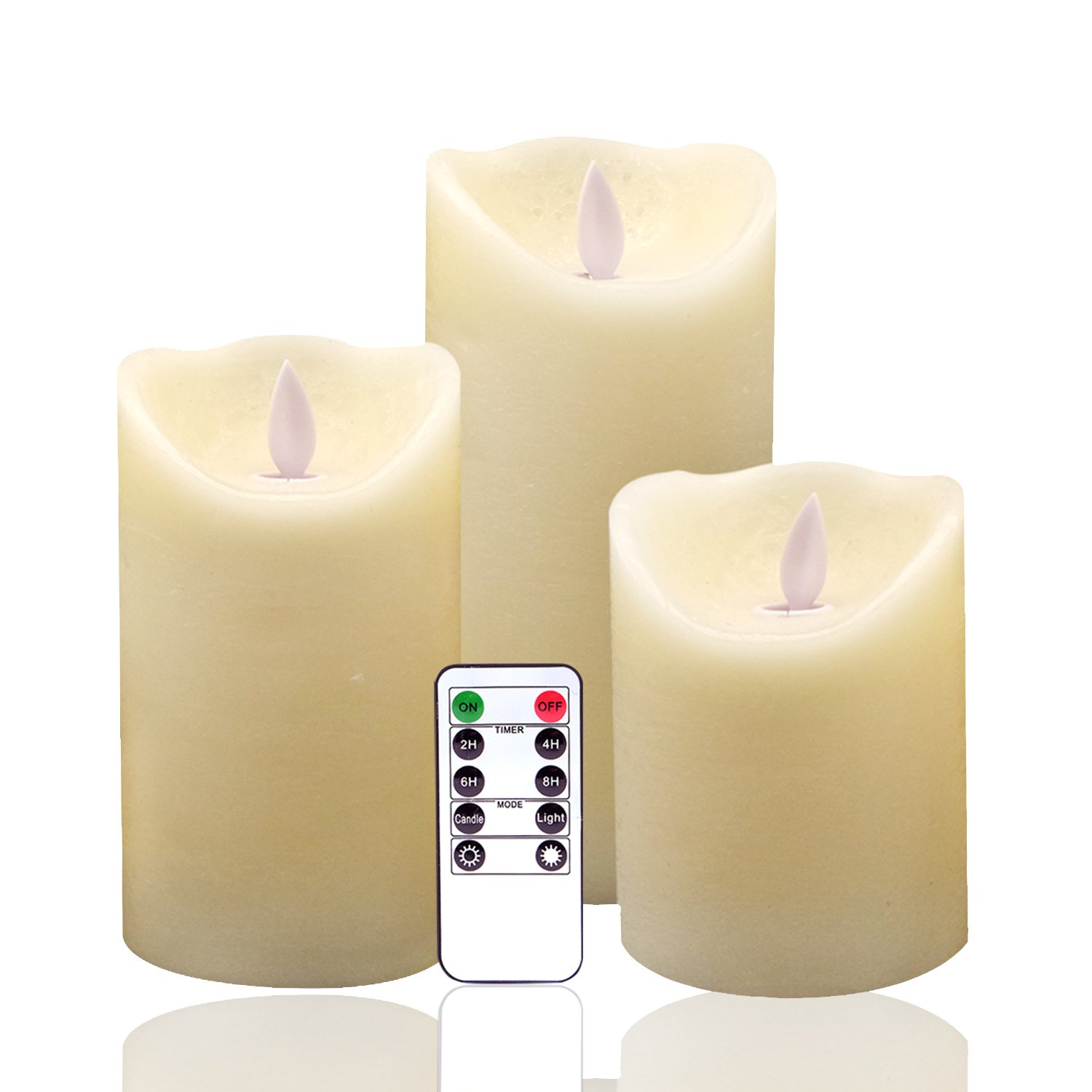 Eldnacele Flickering Flameless Candles Dancing Flame with Timer Remote Control 4 5 6 Inches Set of 3 Real Wax Pillar Battery Operated LED Candles Dripping Finish for Home Decoration and Weddings Parties LD003-B