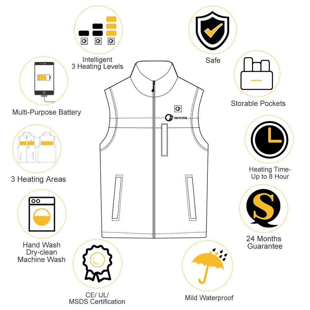 OUTCOOL Men's Heated Vest Light Weight Insulated Heated Down Vest Heating Winter Vest (L) by OUTCOOL (Image #6)