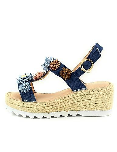 dee5f78e3c79b8 Cendriyon, Compensée Bleue Flowers SANDARA Chaussures Femme Taille ...