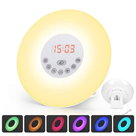 GRDE 6638D - Despertador Reloj Digital con Alarma Luz Nocturna Lámpara LED Wake Up Light con Sonidos Naturales&Radio FM