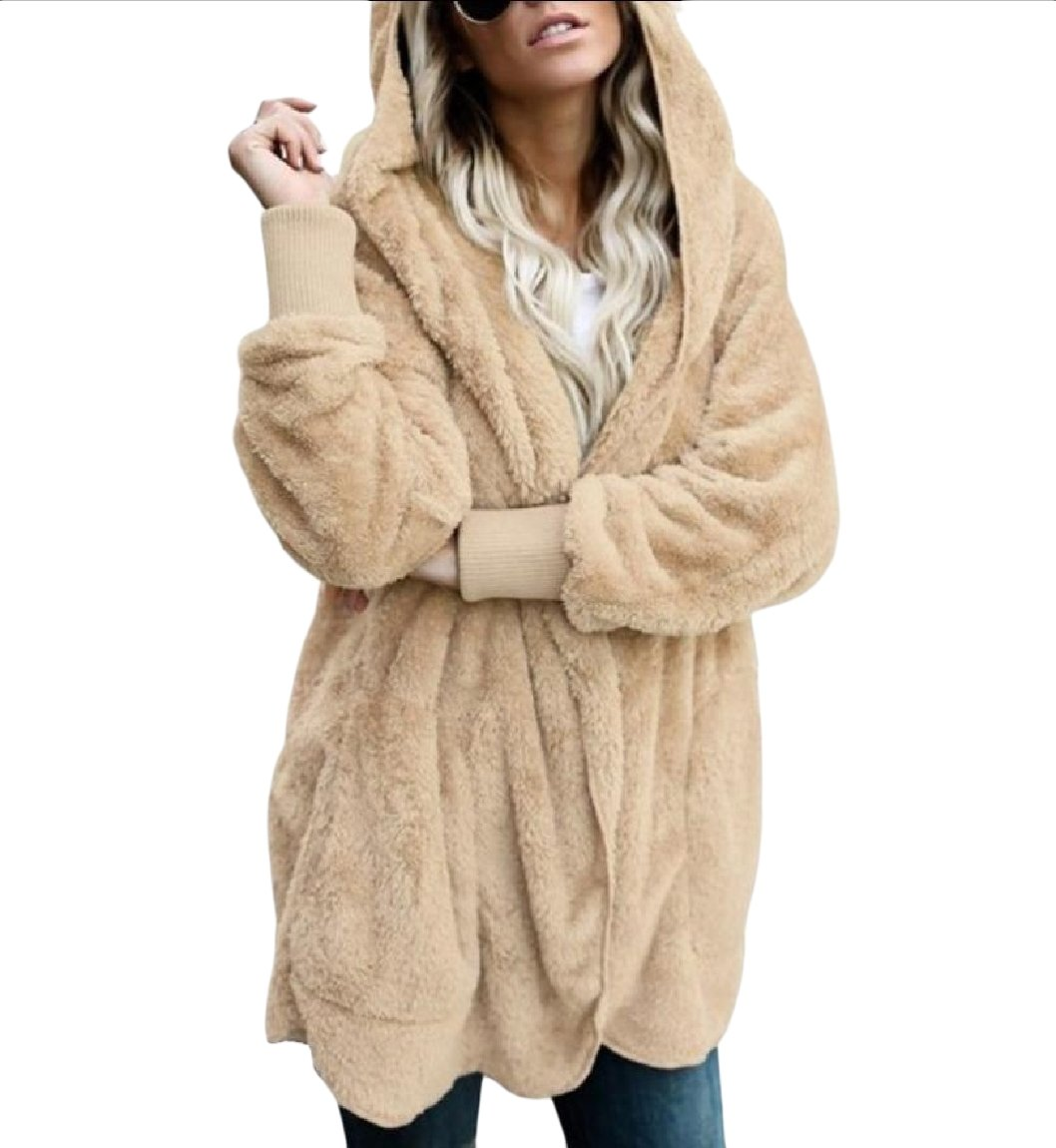 Vska Women Warm Hoode Fall Winter Plush Faux Fur Outwear Jacket
