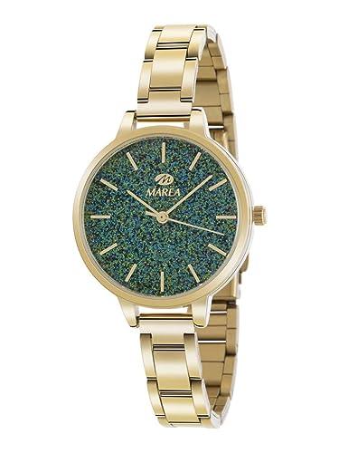 Marea B41239/11 Reloj para Mujer con Correa Dorado y Pantalla en Verde: Amazon.es: Relojes