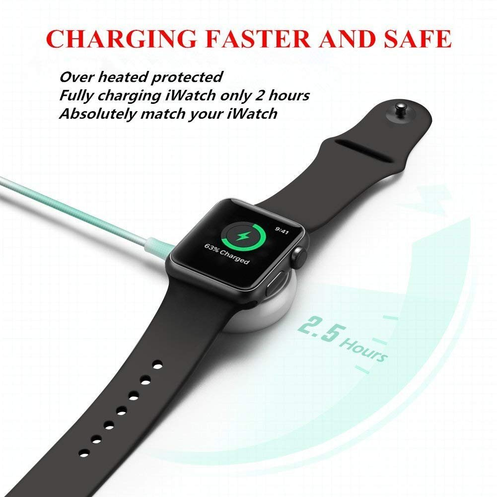 Apple Watch Charger, ATETION 1m Portable Wireless Charger for iWatch with MFI Certified Magnetic Charger for Apple Watch Series 1/2/3/Nike+/Edition/Hermès in 38mm & 42mm by ATETION (Image #5)