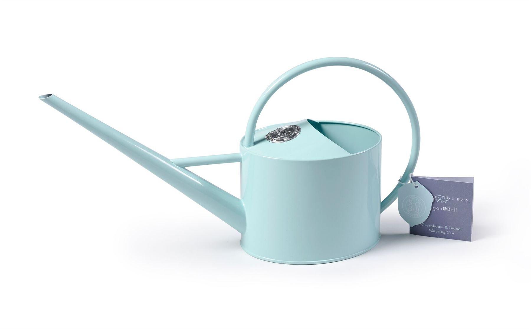 Burgon & Ball Coated Galvanised Steel Long Reach Indoor Watering Can in Pale Blue