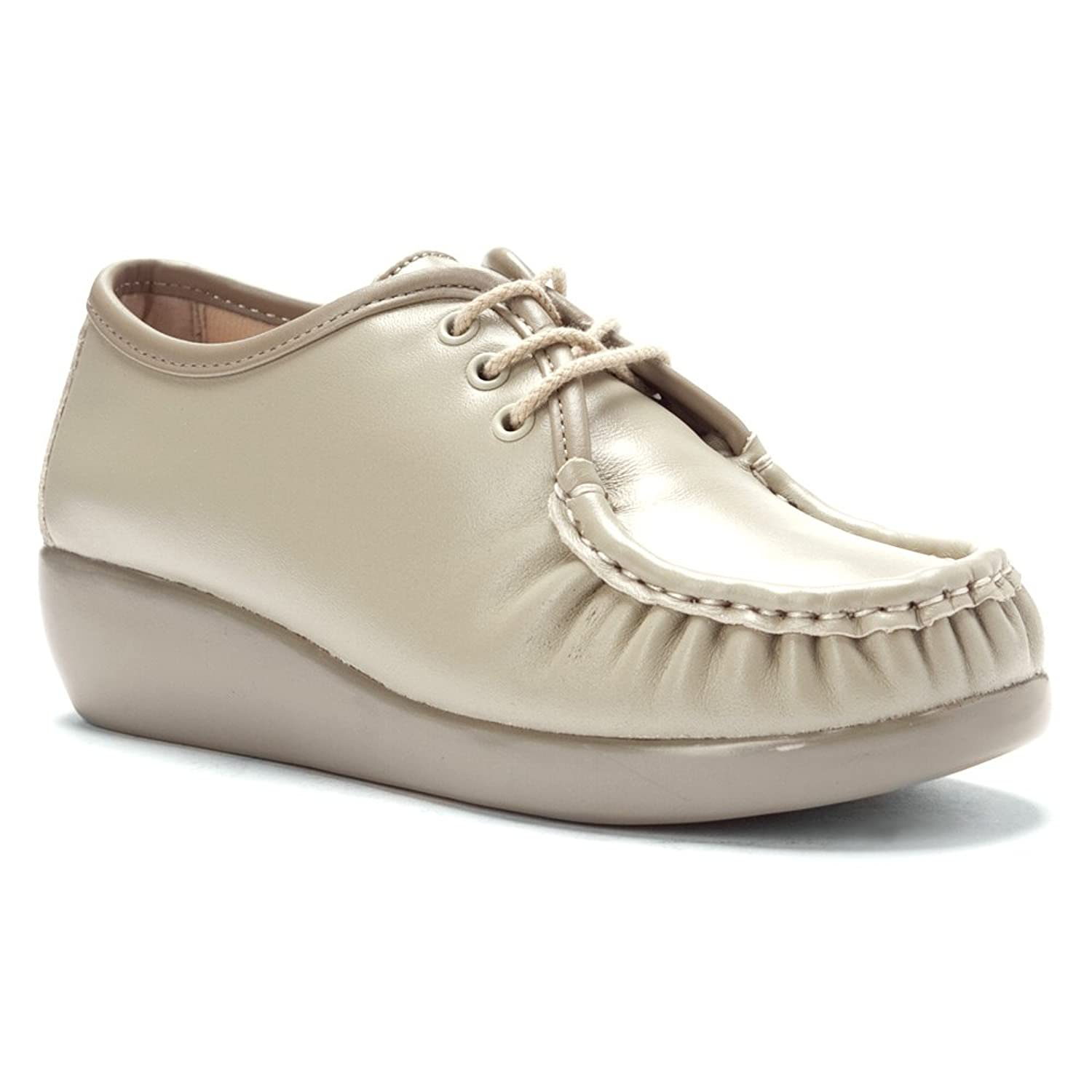 Spring Step Leather Beige Emily Womens Lace Ups