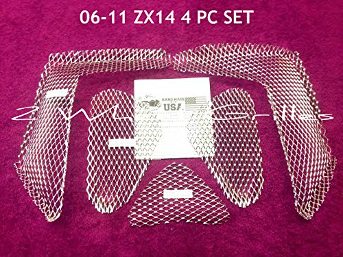 (2006-2011 Kawasaki ZX14 Complete 5 Piece Chrome Fairing and Nose Grills Screens Vents Mesh)
