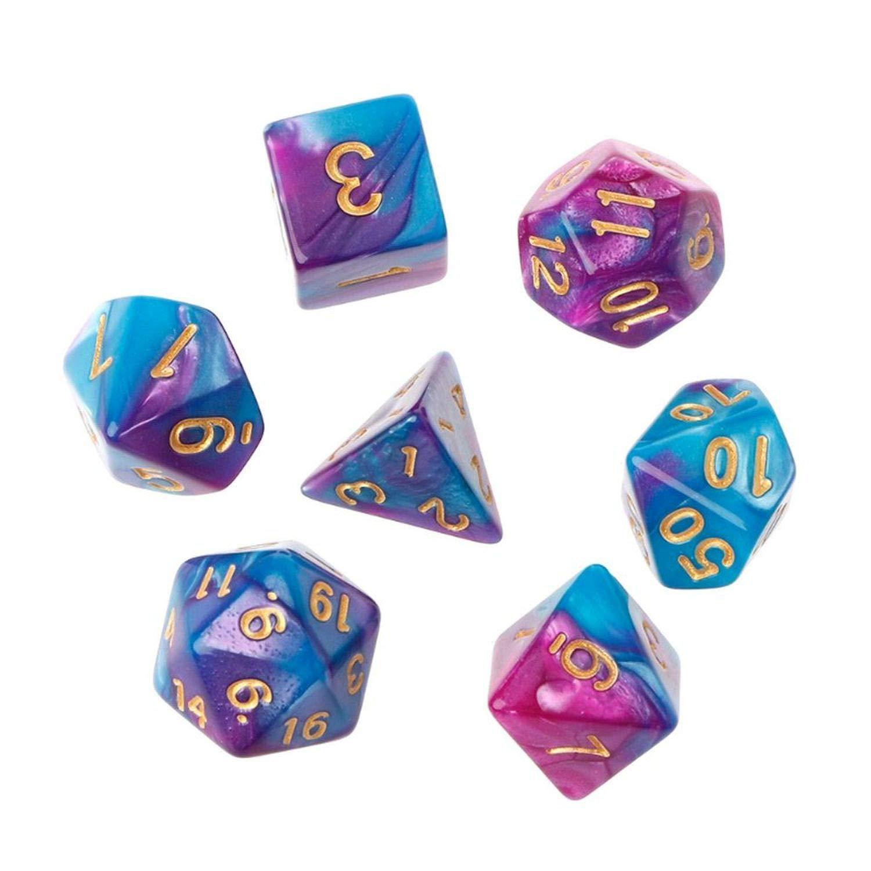 Blue /& Grey Nebula 2-Color Polyhedral Dice Set of 7 w// Bag of Holding for TRPG D/&D Dungeons /& Dragons