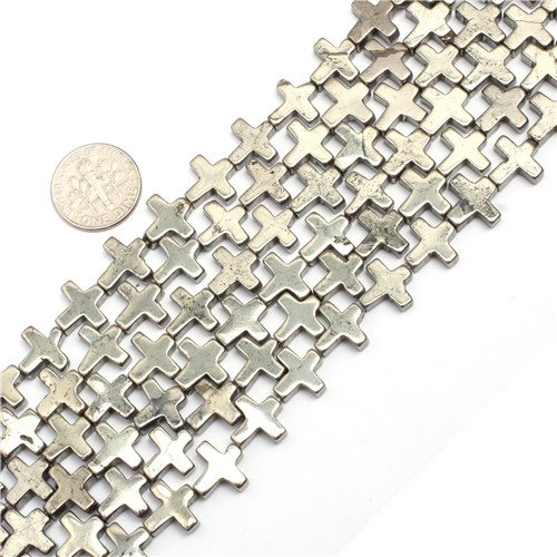 GEM-inside 11x11MM Cross Silver Gray Pyrite Beads In 15 Inches For DIY Jewelry Making