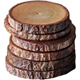"Bestag Unfinished Natural Wood Slices Circles Coasters with Tree Bark Log Discs for DIY Craft Rustic Wedding Ornaments (6, 3.5""-4"")"
