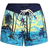 SSLR Women's Quick Dry Tropical Casual Drawstring Hawaiian Beach Board Shorts (28, Black Blue)