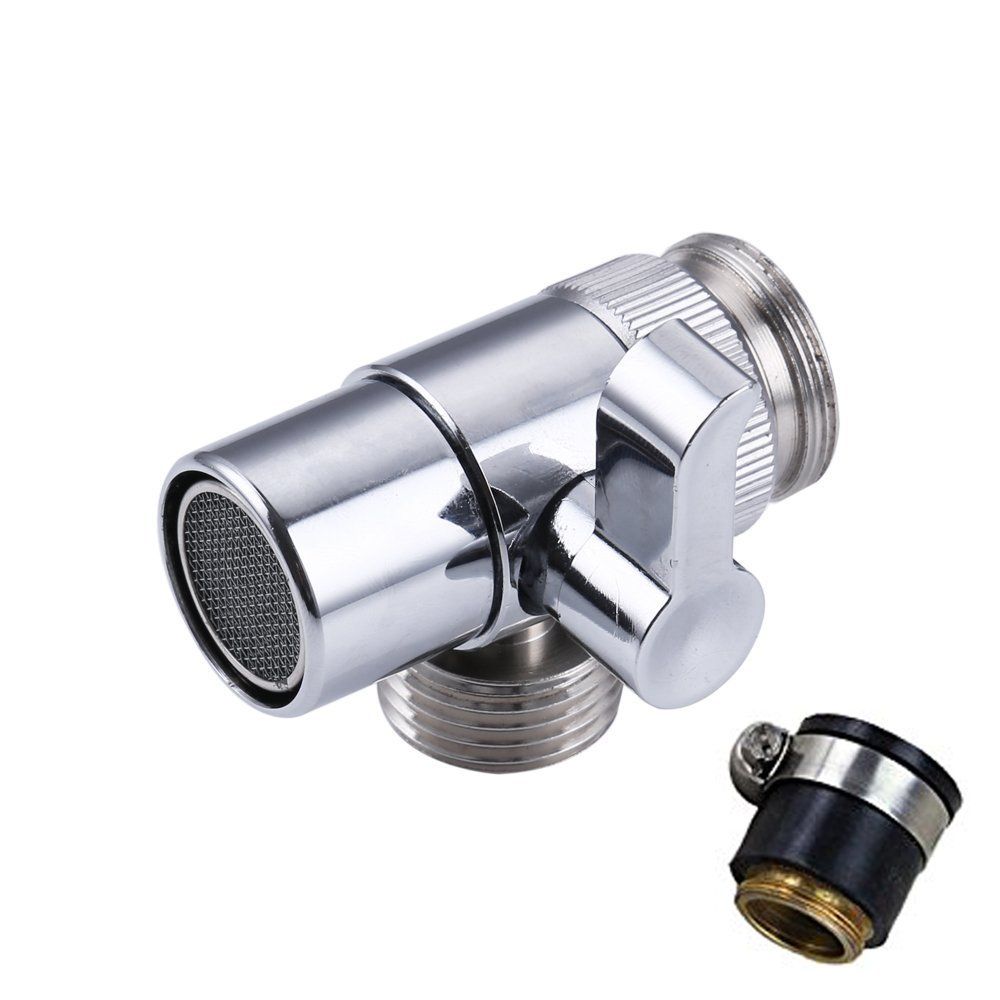Weirun BRASS Sink Valve Diverter Faucet Splitter for Kitchen or Bathroom Sink Faucet Replacement Part Faucet to Hose Adapter M22 X M24 with Universal Connector , Polished Chrome